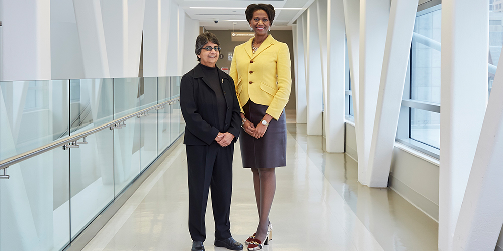 Symcor's President and CEO Chameli Naraine with Jennifer Bernard, President and CEO of Women's College Hospital Foundation